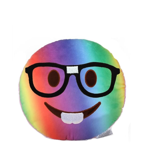 Top Trenz Tie-Dye Nerd Boy Smiley Emoji Pillow