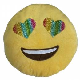 Top Trenz Bling Rainbow Eyes Smiley Emoji Pillow