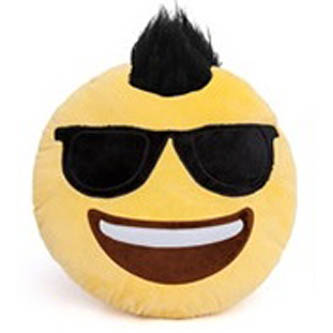Top Trenz Mohawk and Sunglasses Smiley Emoji Pillow