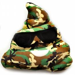 Top Trenz Camo Poop Smiley Emoji Pillow