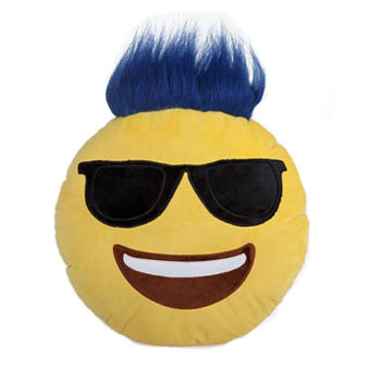 Top Trenz Blue Troll Hair Smiley Emoji Pillow