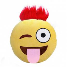 Top Trenz Red Troll Hair Smiley Emoji Pillow