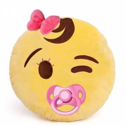 Emojicon Baby Girl Wink Smiley Emoji Pillow