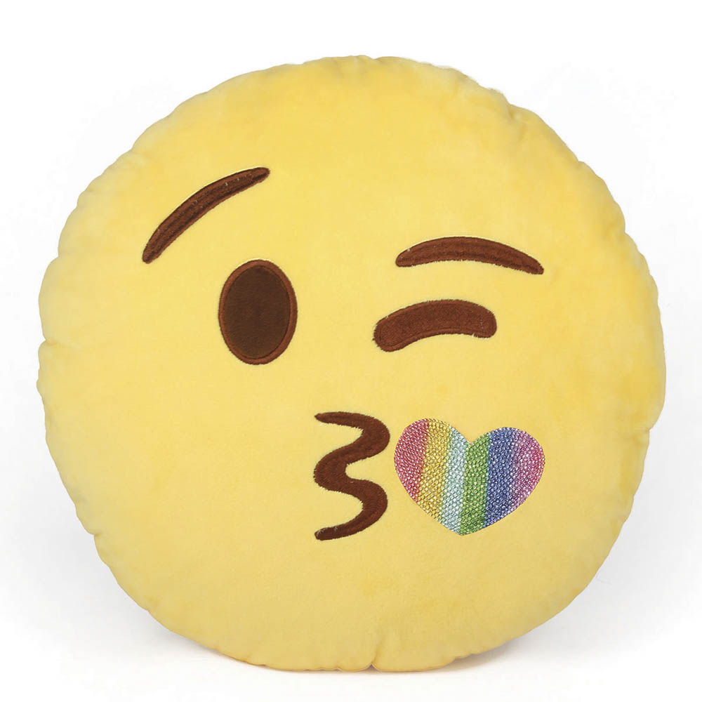 Top Trenz Blingy Kiss Smiley Emoji Pillow