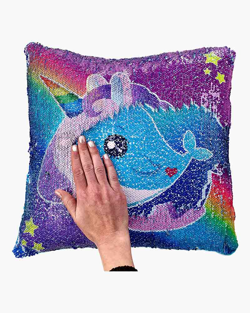 Top Trenz Narwhal And Unicorn Reversible Sequin Pillow The Paper Store