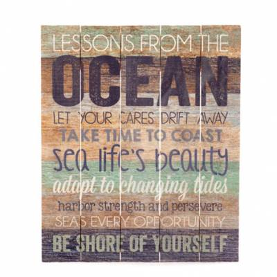 Lessons From the Ocean Reclaimed Wooden Sign