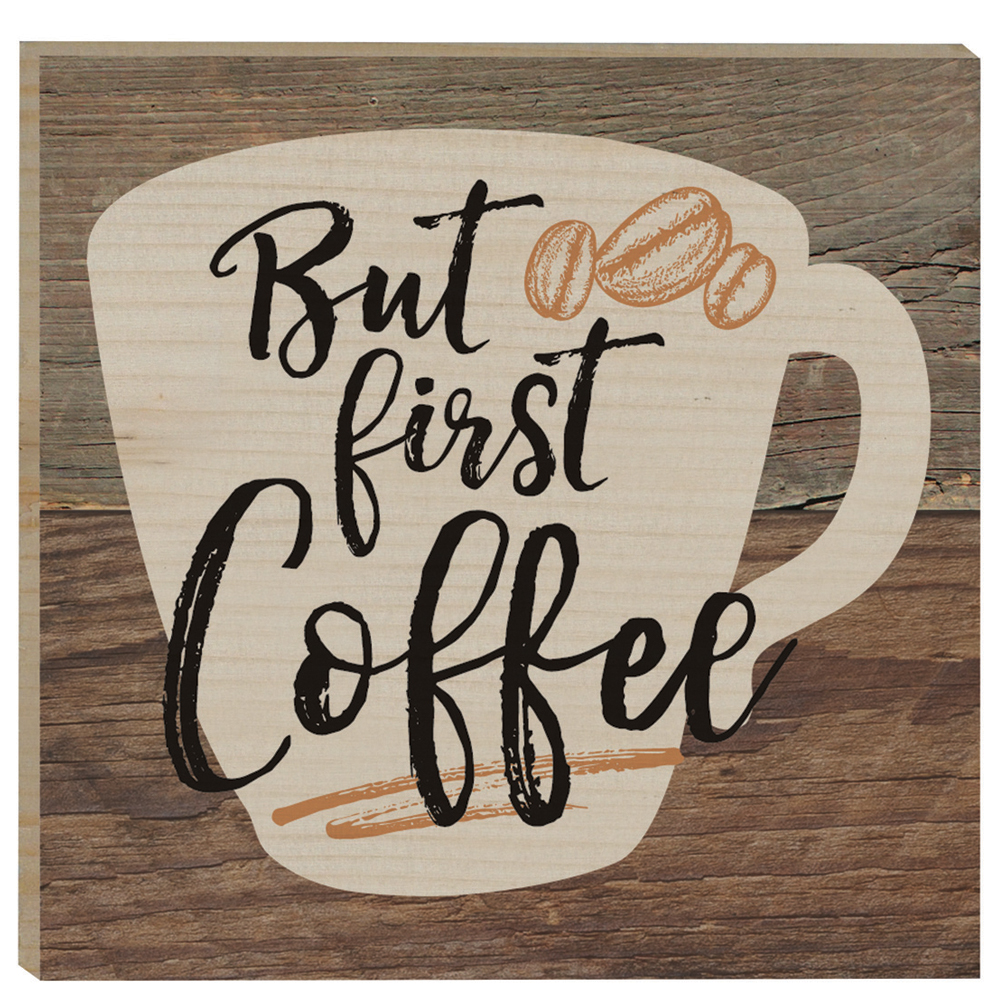 P. Graham Dunn But First Coffee Rustic Magnet