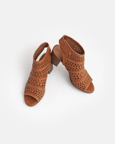 Perforated Pull-On Booties in Cognac