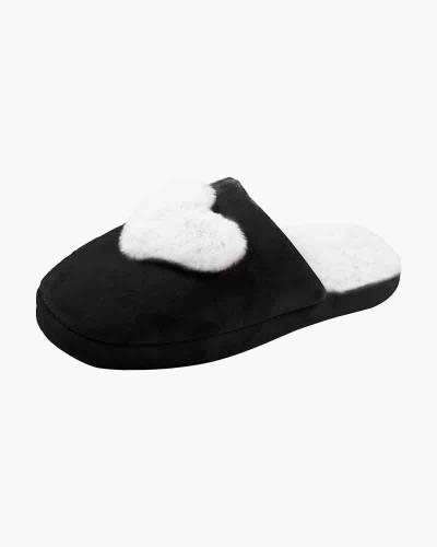 Plush Heart Slippers in Black