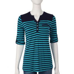 Emma G Navy Stripe Roll Sleeve Top