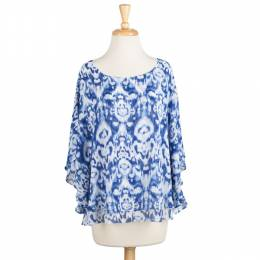 Sionis Blue and White Ikat Poncho