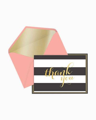 Black and White Stripes Thank You Notes