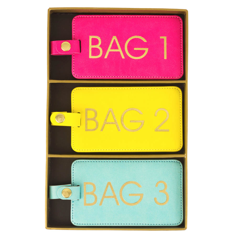 Eccolo Bag 1, 2 and 3 Bright Luggage Tag Set
