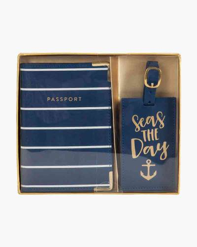 Seas the Day Anchor Passport Case and Luggage Tag Gift Set