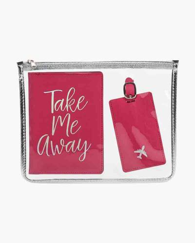 Take Me Away Passport Case and Luggage Tag Set with Zipped Cosmetic Bag
