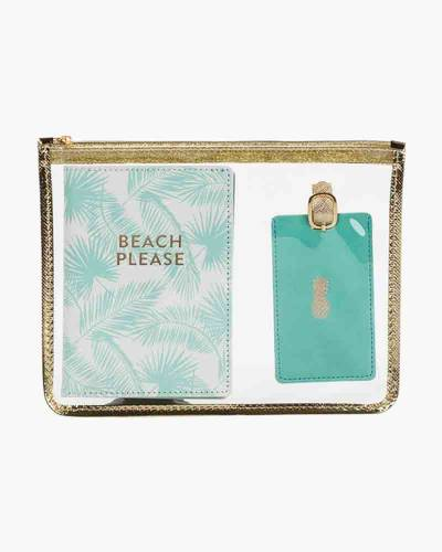 Beach Please Passport Case and Luggage Tag Set with Zipped Cosmetic Bag