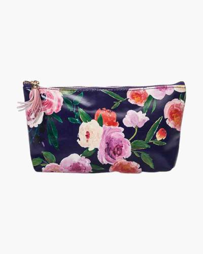 Navy Floral Zipped Pouch with Tassel
