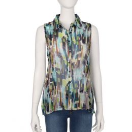 Claudia Richard Blue and Green Button Up Tank Top