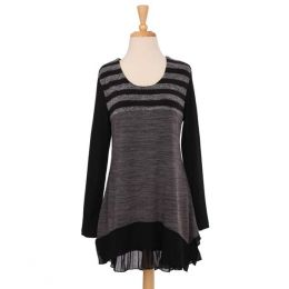 Panitti Black and Grey Stripes Tunic