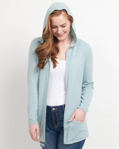 Exclusive Hooded Cardigan in Blue Mist