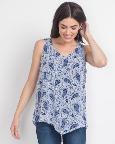 Exclusive Navy Blue Paisley Tank Top