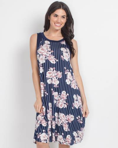 Exclusive Vertical Stripe and Floral Print Dress