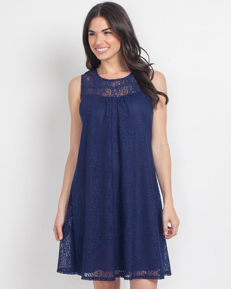 6f9e5ea71a Mia + Tess Designs ™ Exclusive Navy Lace Dress | The Paper Store
