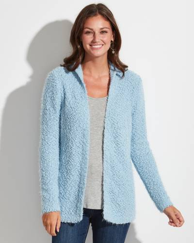 Exclusive Hooded Eyelash Cardigan in Light Blue