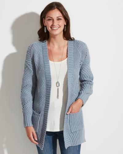 Exclusive Open Weave Cardigan in Grey