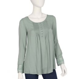 Ya Los Angeles Sage Pleated Embroidered Top