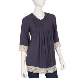 Ya Los Angeles Pleated Embroidered Top