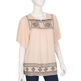 Ya Los Angeles Black Needlework Cream Top