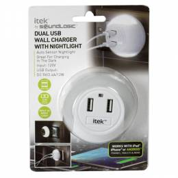 itek Dual USB Wall Charger with Nightlight