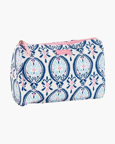 Packin' Heat Cosmetic Bag in Rouge and Navy Medallion