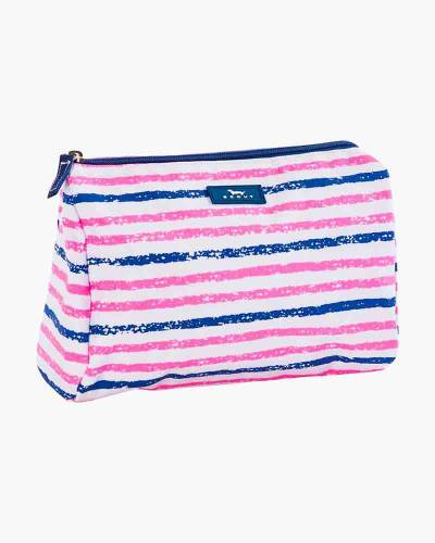 Packin' Heat Cosmetic Bag in Pink and Navy Stripe