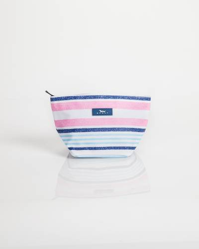 Exclusive Crown Jewels Cosmetic Bag in Pink and Blue Lines