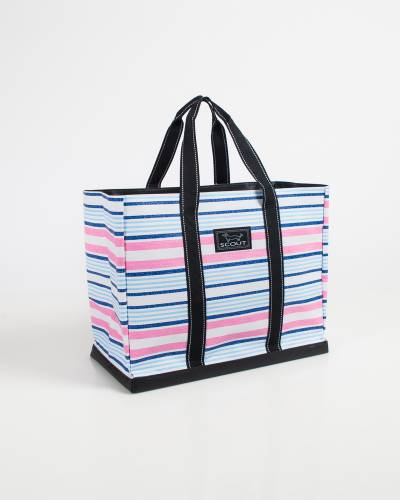 Exclusive Original Deano Tote in Pink and Blue Lines