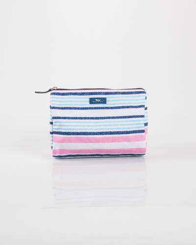 Exclusive Packin' Heat Cosmetic Bag in Pink and Blue Lines