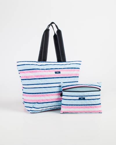 Exclusive Plus 1 Foldable Tote and Pouch Duo in Pink and Blue Stripes