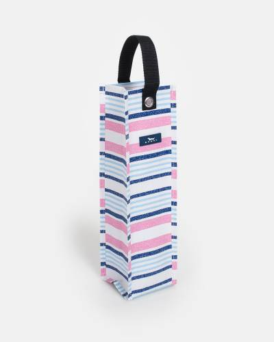 Exclusive Spirit Liftah Wine Tote in Pink and Blue Lines