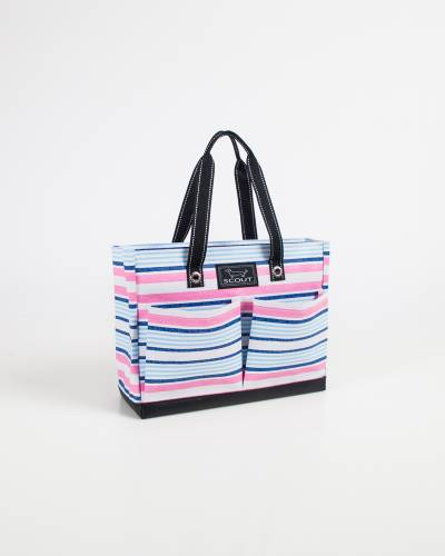 Exclusive Uptown Girl Tote in Pink and Blue Lines
