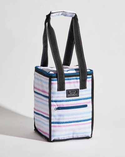 Exclusive Pleasure Chest Picnic Cooler in Purple, Pink, and Navy Lines