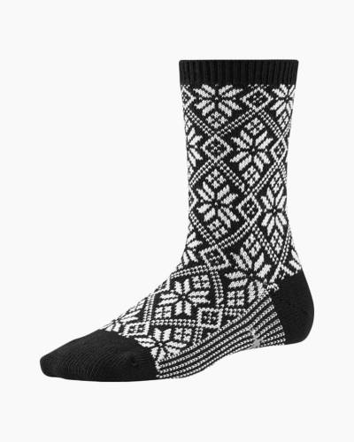 Women's Black Traditional Snowflake Socks