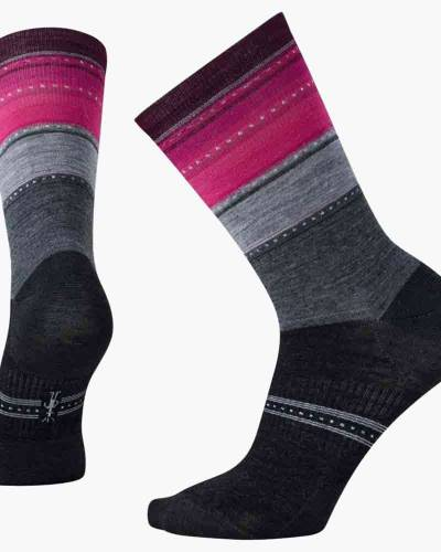 Women's Sulawesi Stripe Socks in Medium Grey Heather (Medium)