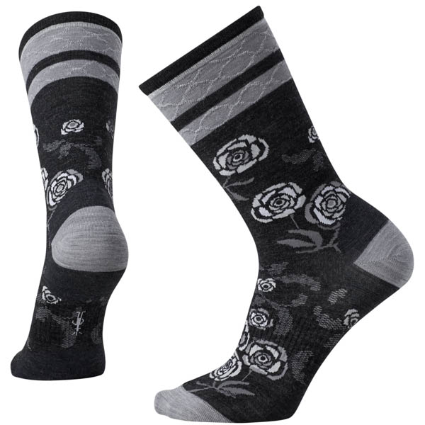 SmartWool Women's Rosey Posey Crew Socks in Charcoal Heather (Medium)
