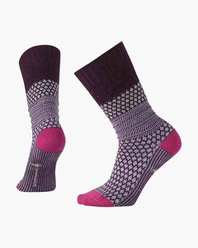 Women's Popcorn Cable Socks in Bordeaux (Medium)