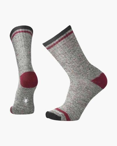 Men's Larimer Crew Socks in Charcoal Heather/Tibetan Red
