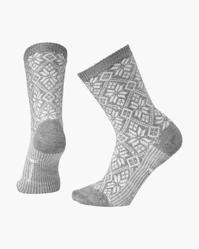 Women's Traditional Snowflake Socks in Light Grey Heather (Medium)