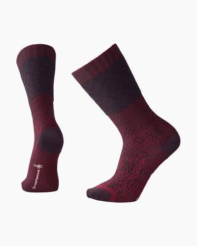 Women's Snowflake Flurry Socks in Tibetan Red Heather