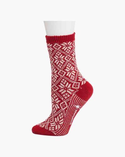 Women's Traditional Snowflake Socks in Crimson (Medium)